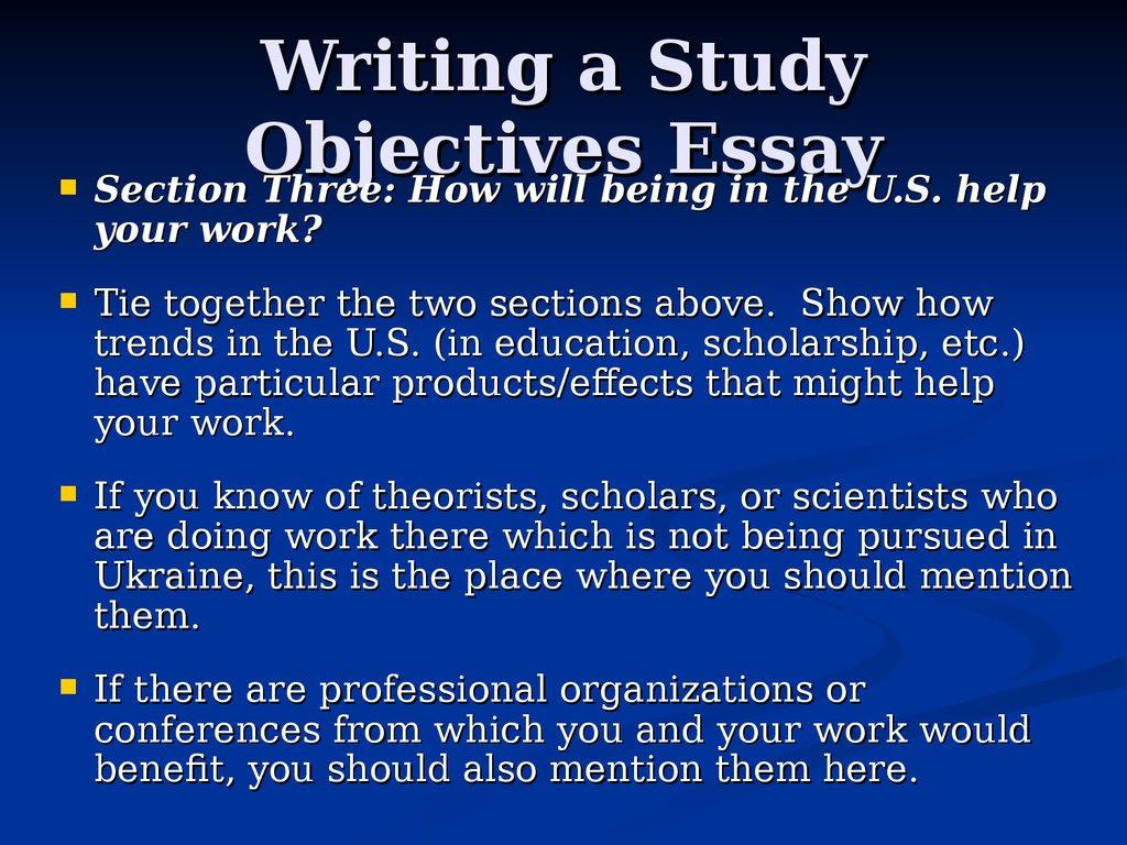 thesis objectives Writing learning objectives 1 given a thesis statement in class, the student will write 3 topic sentences for paragraph development of the given statement.