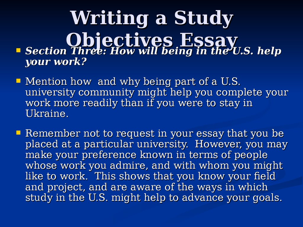 Writing a Study Objectives Essay