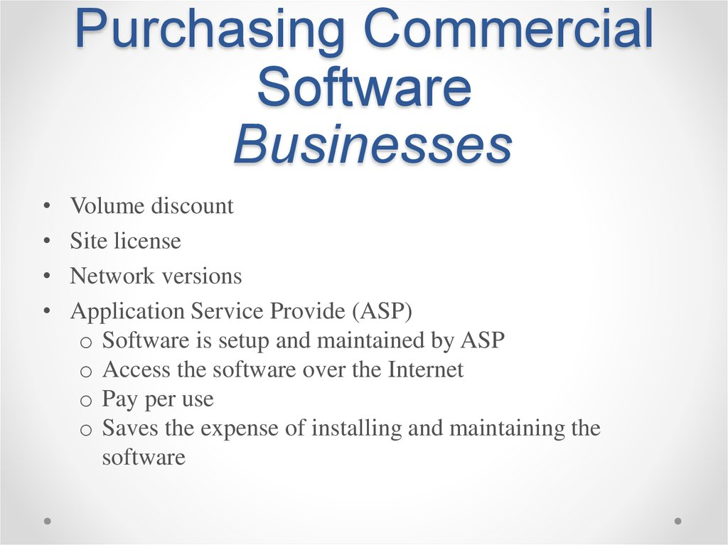 Purchasing Commercial Software Businesses