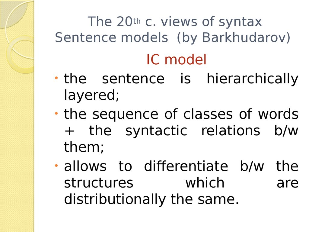 The 20th c. views of syntax Sentence models (by Barkhudarov)