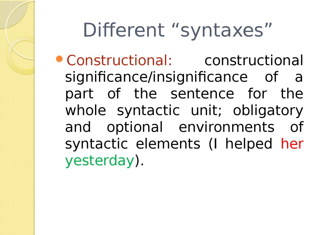 "Different ""syntaxes"""