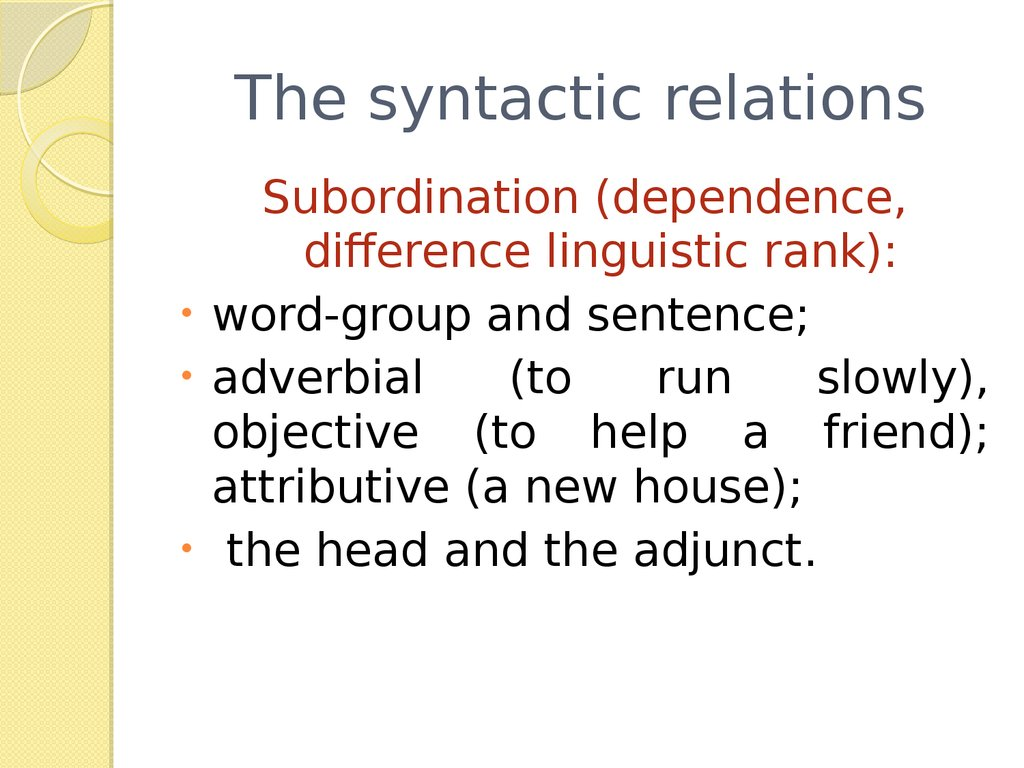 The syntactic relations