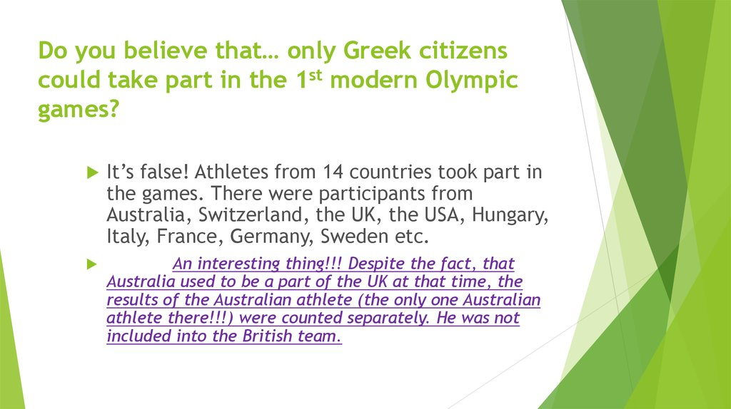 Do you believe that… only Greek citizens could take part in the 1st modern Olympic games?