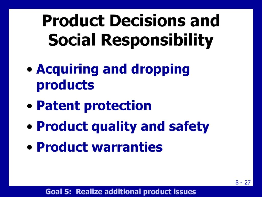 Product Decisions and Social Responsibility