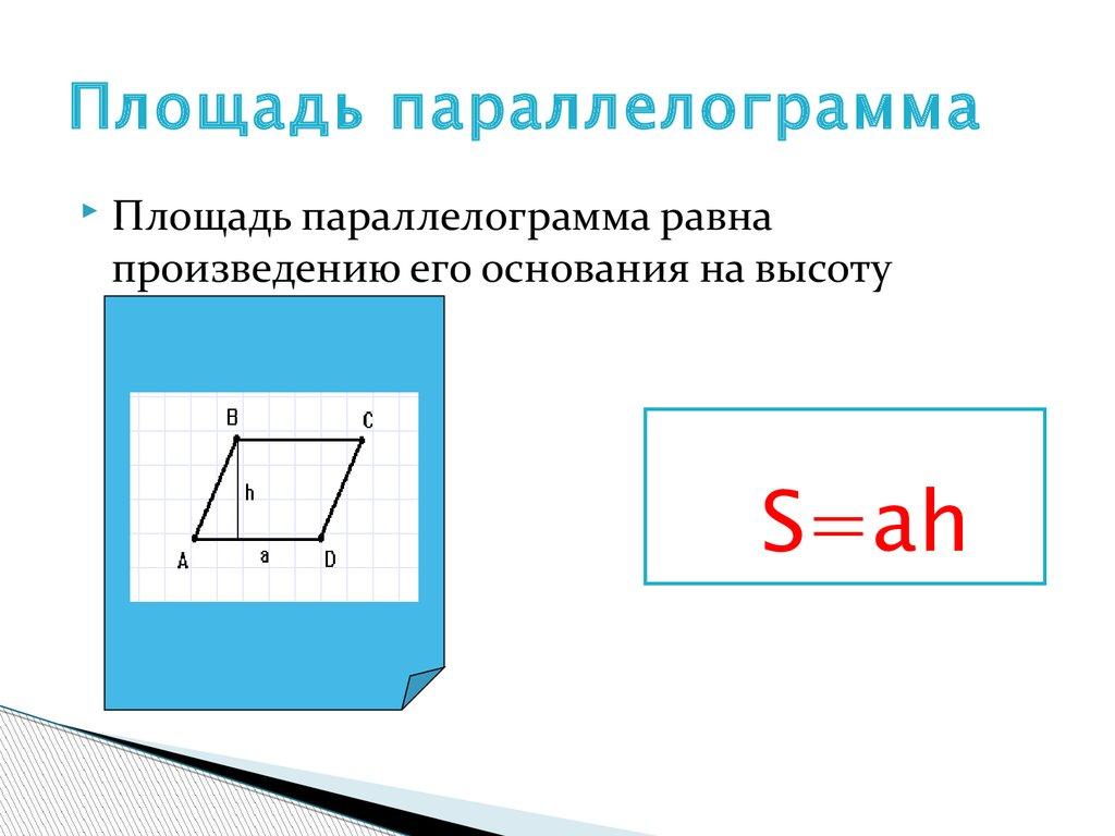 Формула площади параллелограмма картинка