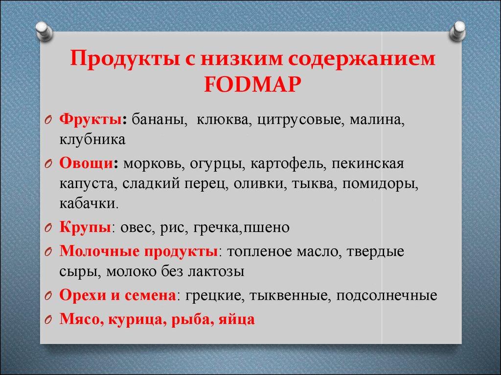 Диета фодмап список продуктов