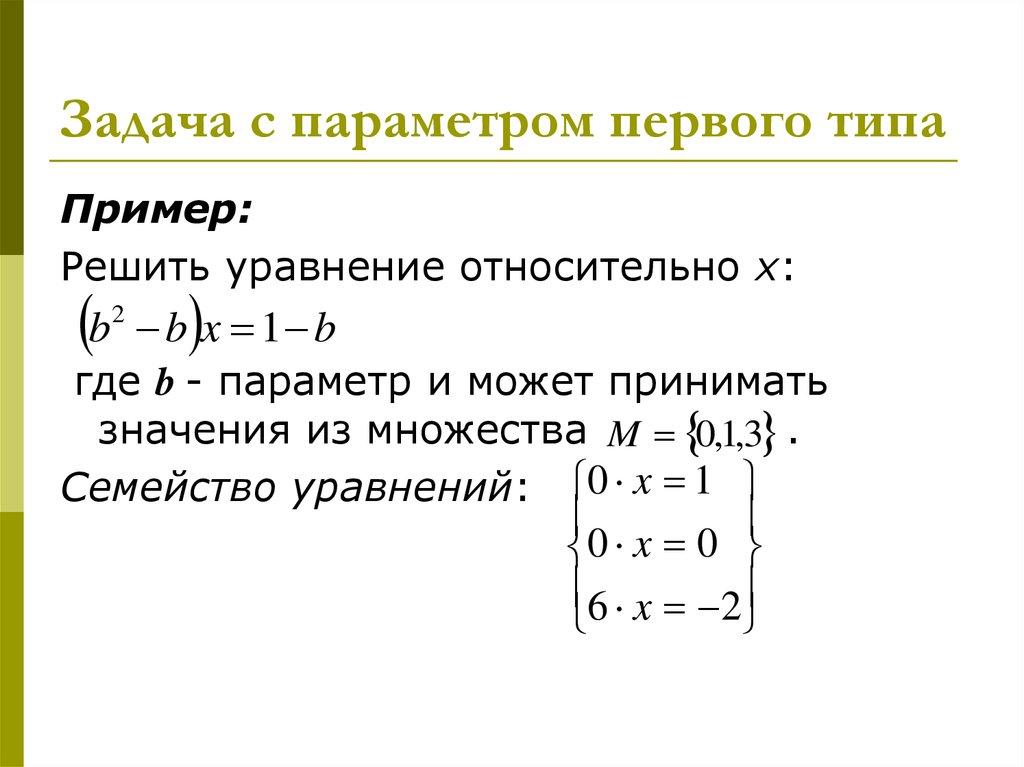 Параметрами с уравнении в знакомство первое