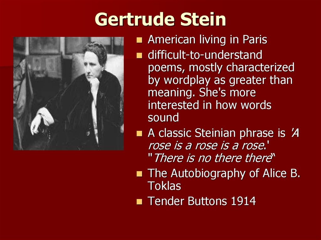 "gertrude stein poetry and grammar essay Gertrude stein's ""poetry and grammar stein begins by wondering what if we can per the title of this essay, she is focusing on grammar and."