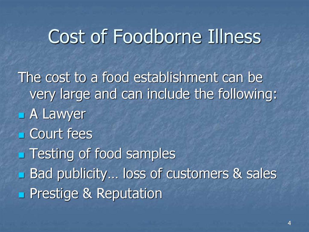 Cost of Foodborne Illness