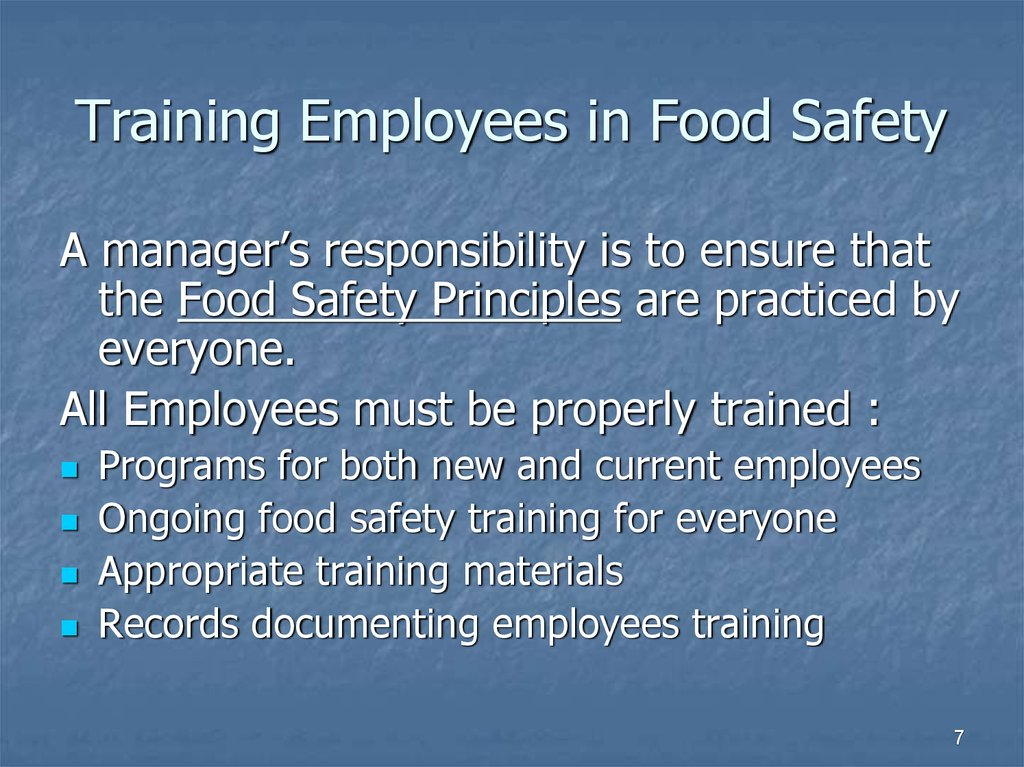 Training Employees in Food Safety
