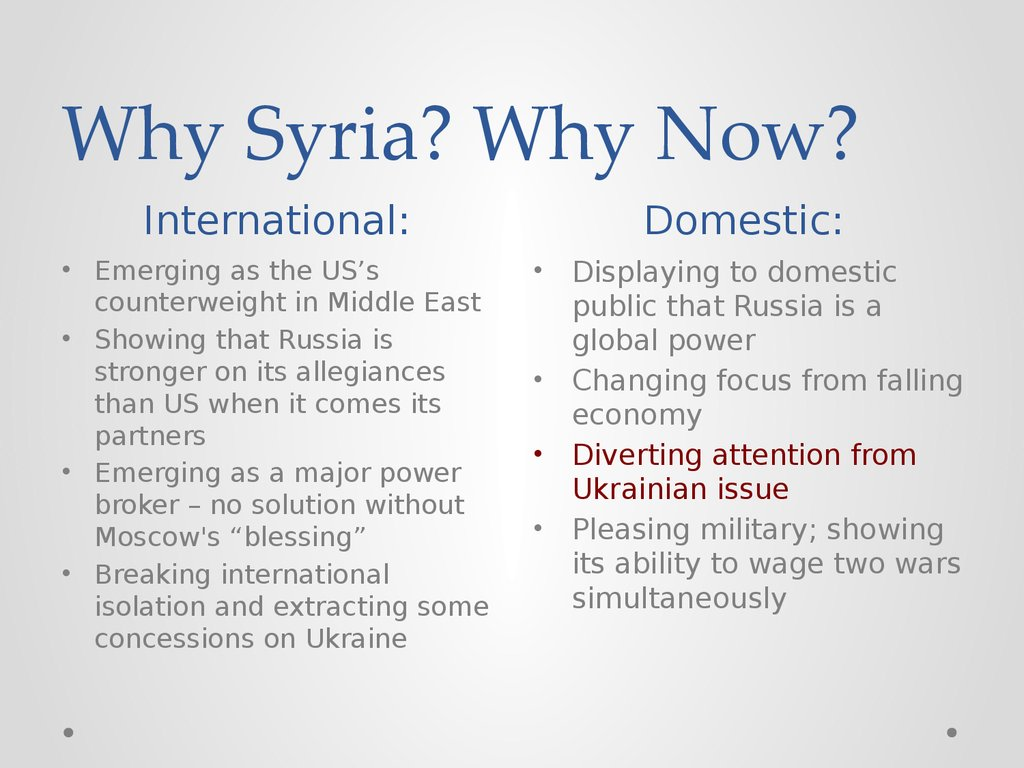 Why Syria? Why Now?