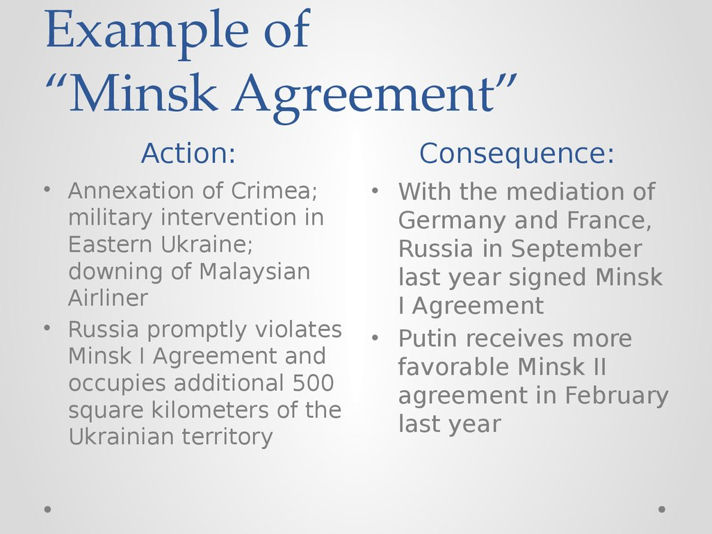"Example of ""Minsk Agreement"""