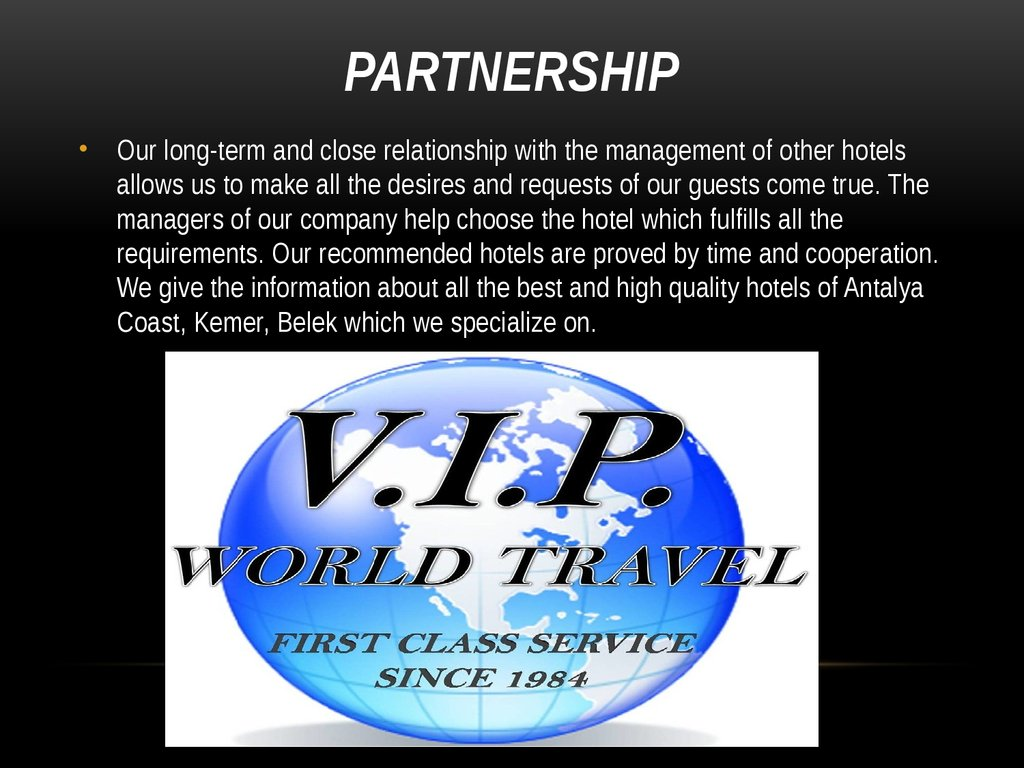 CIP Service Travel Agency - online presentation