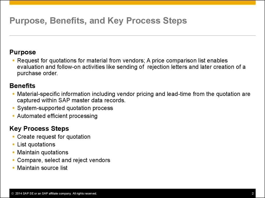 Quotation for Procurement  SAP Best Practices - online
