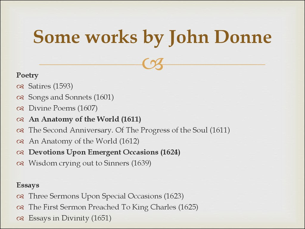 Some works by John Donne