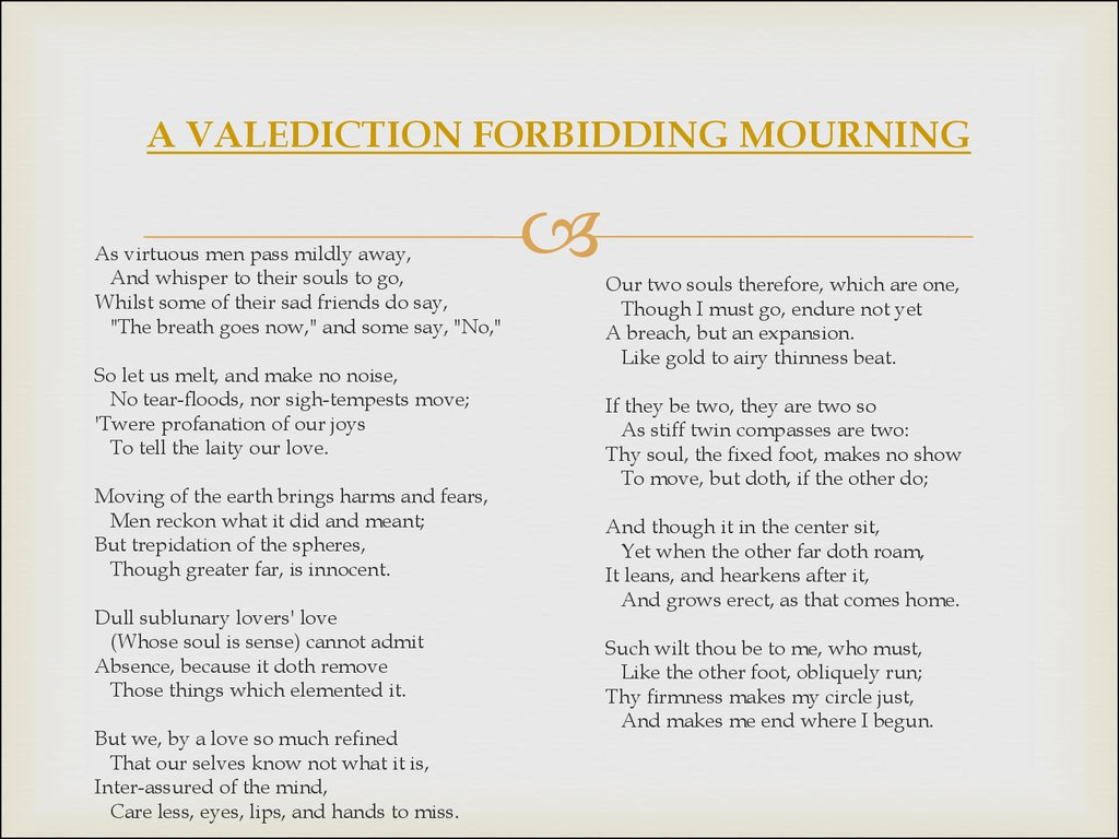 valediction forbidding mourning