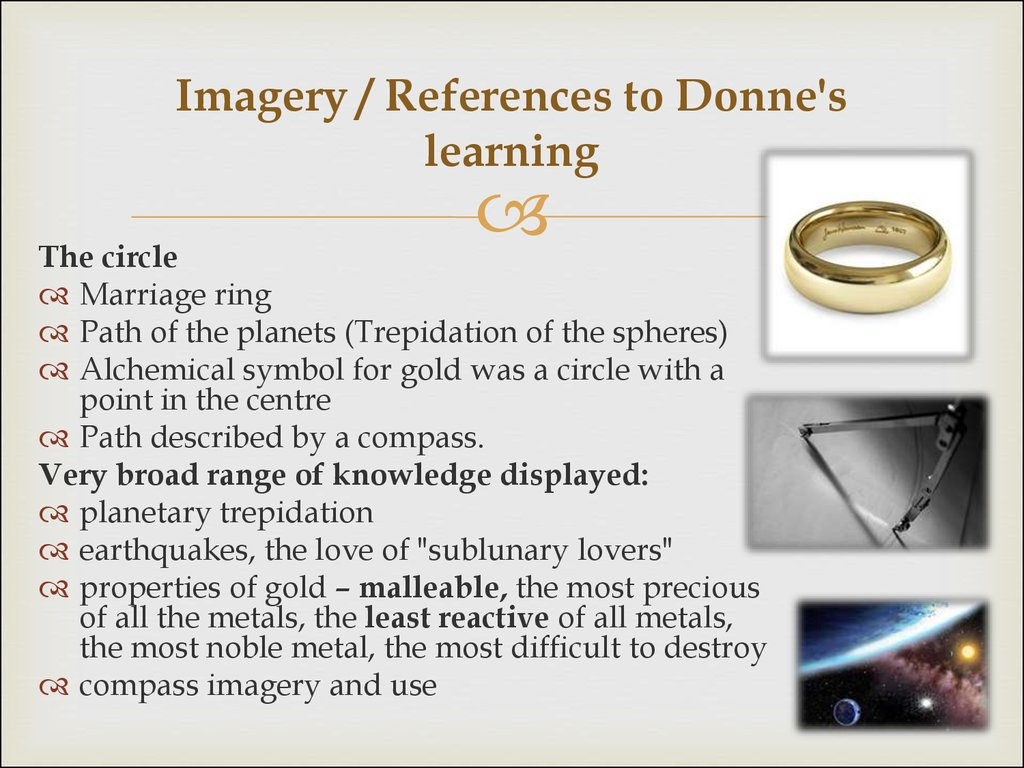 Imagery / References to Donne's learning