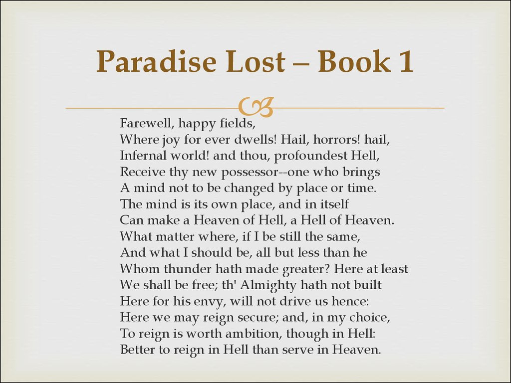 Paradise Lost – Book 1