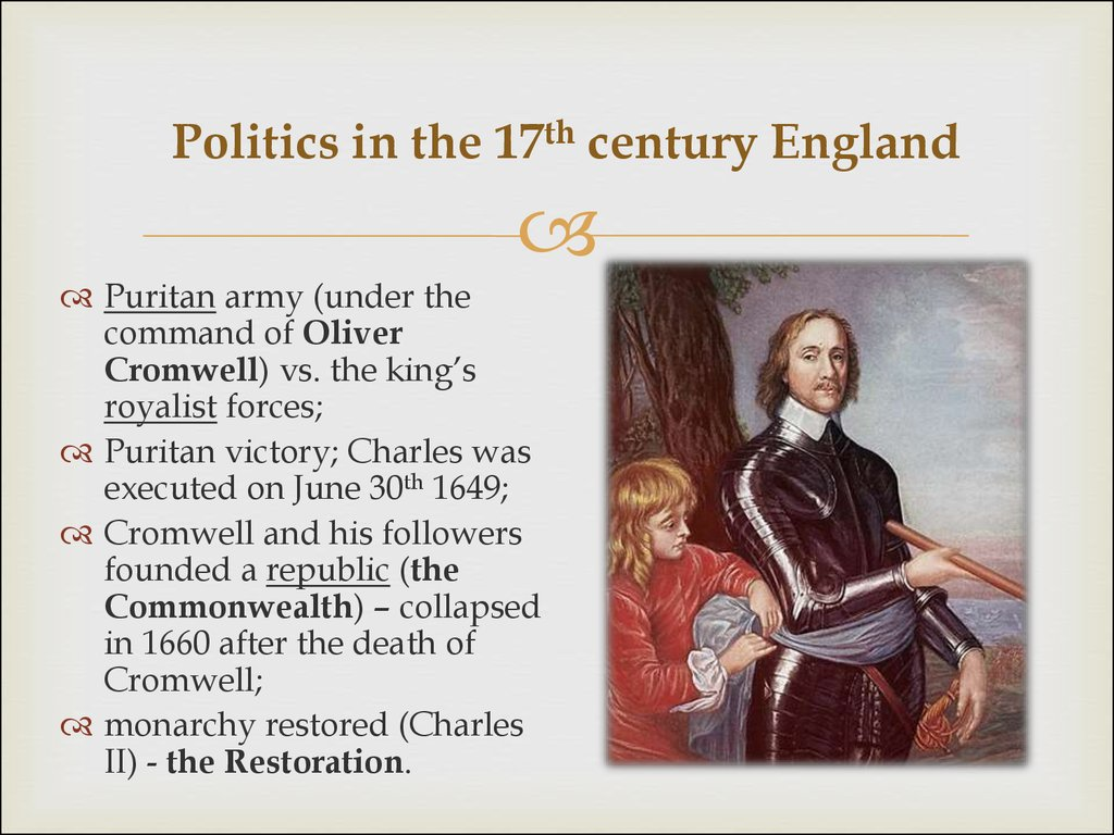 Politics in the 17th century England