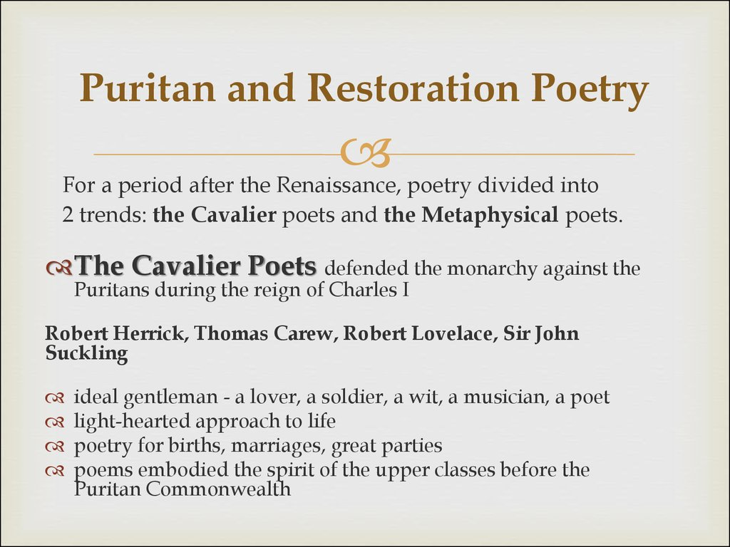 Puritan and Restoration Poetry