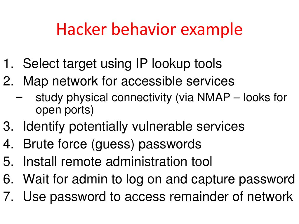 Hacker behavior example
