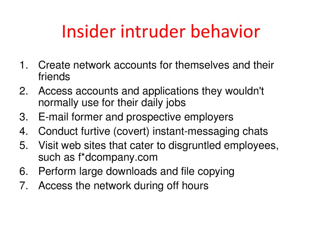 Insider intruder behavior