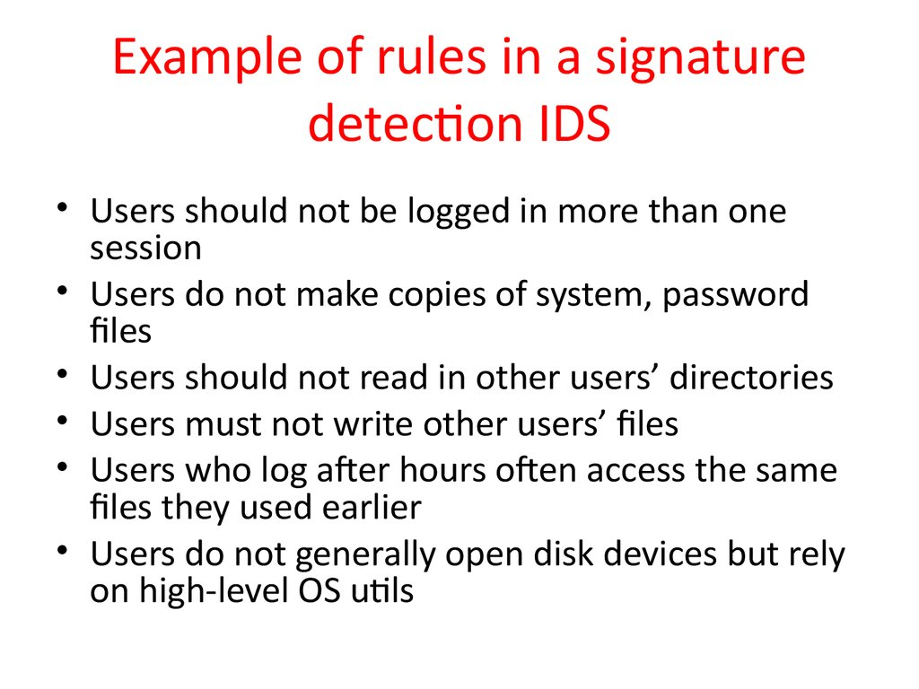 Example of rules in a signature detection IDS
