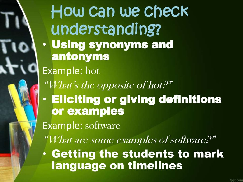 How can we check understanding?