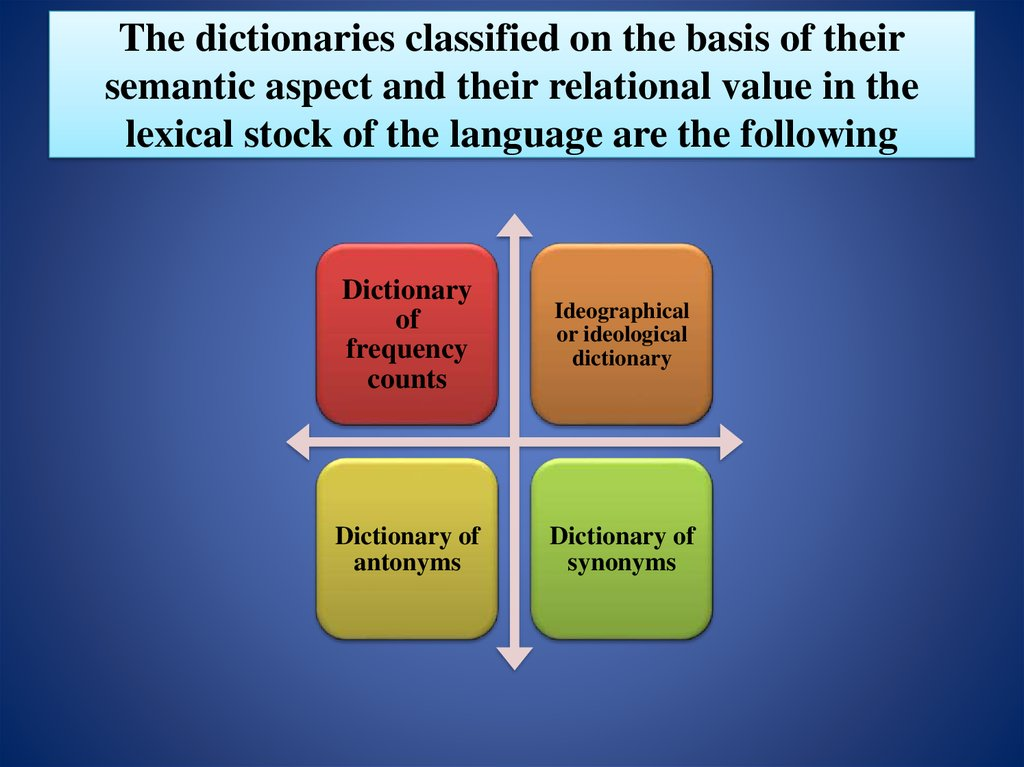 The dictionaries classified on the basis of their semantic aspect and their relational value in the lexical stock of the language are the following