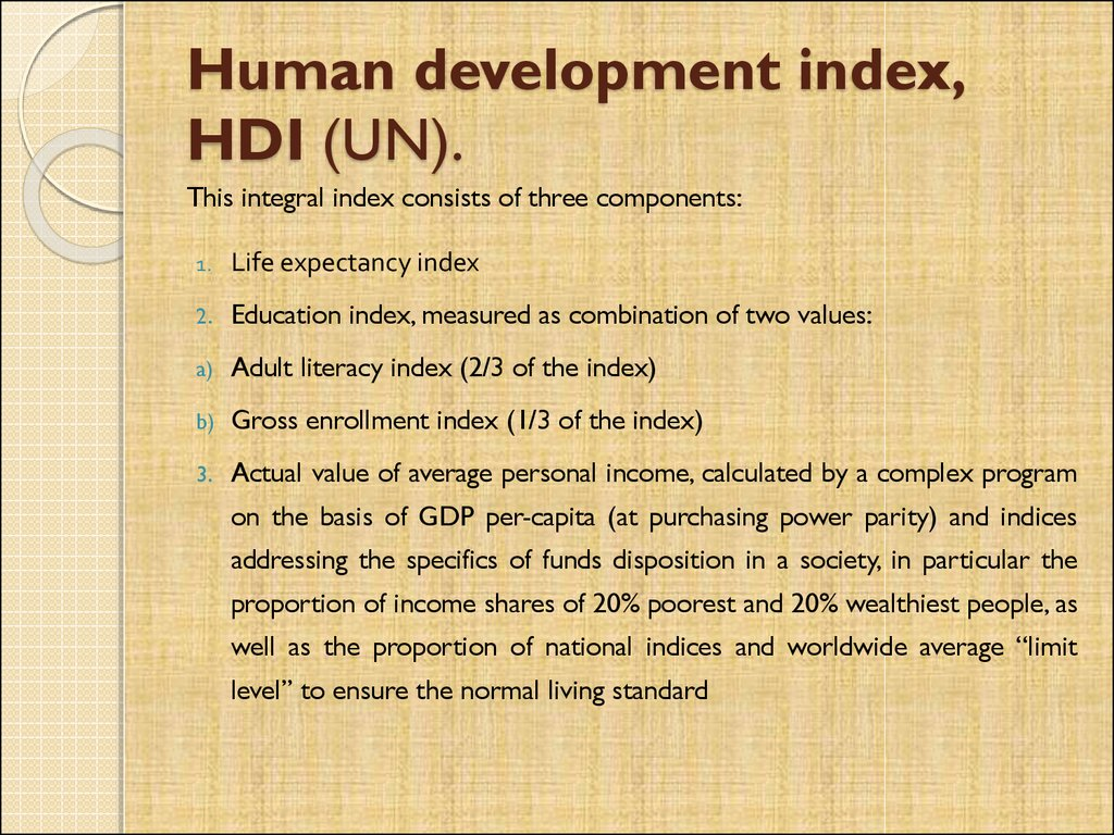 Human development index, HDI (UN).