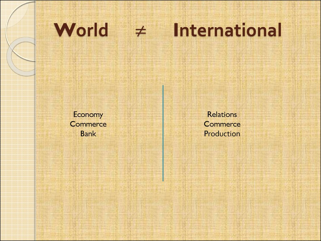 World ≠ International