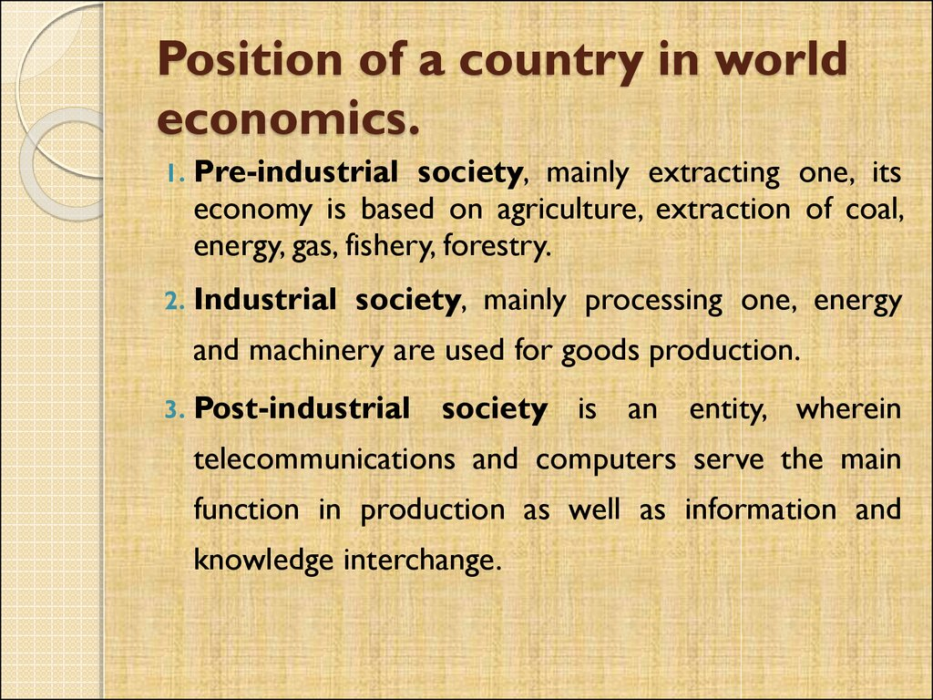Position of a country in world economics.