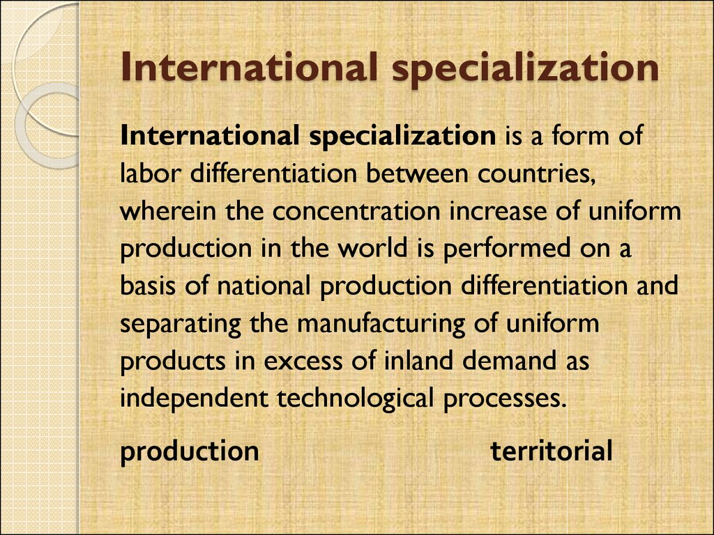 International specialization