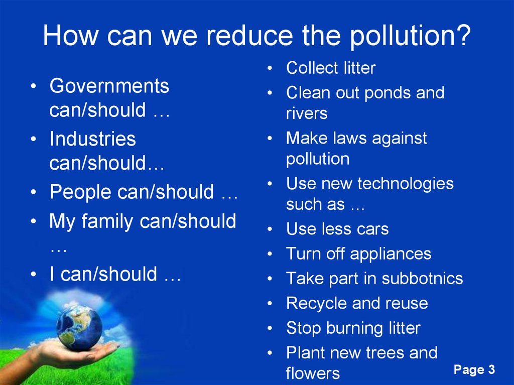 How can we reduce the pollution?