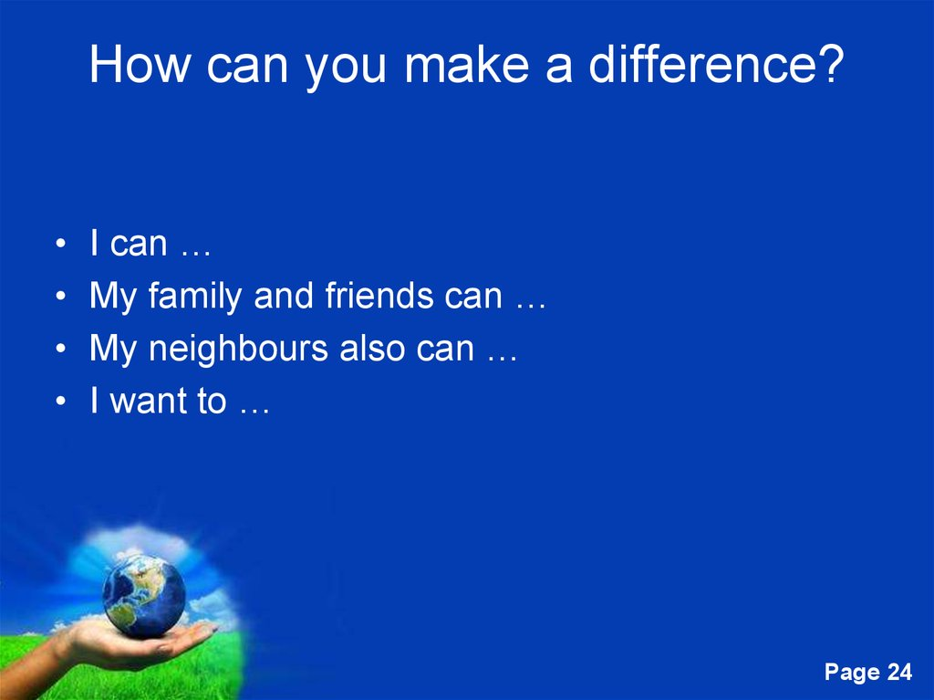 How can you make a difference?