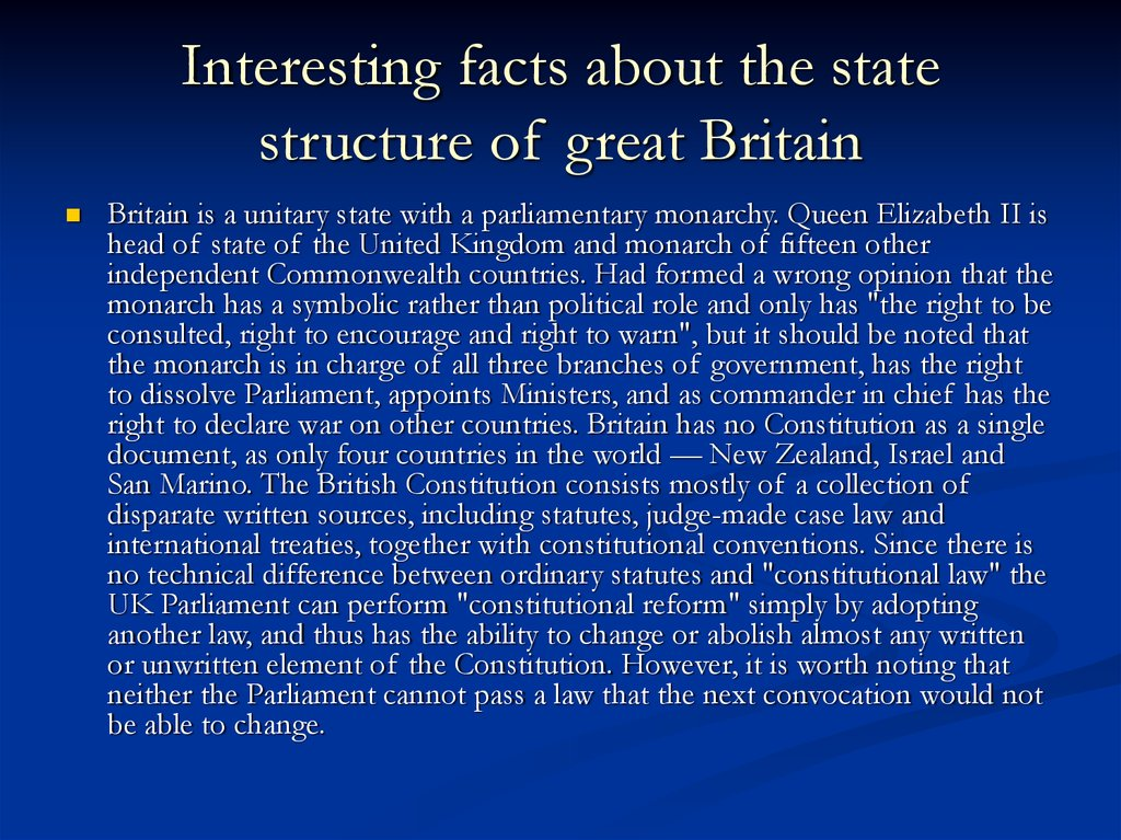Interesting facts about the state structure of great Britain
