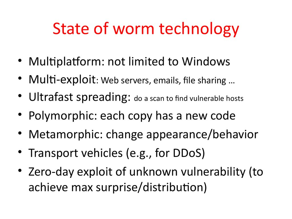 State of worm technology
