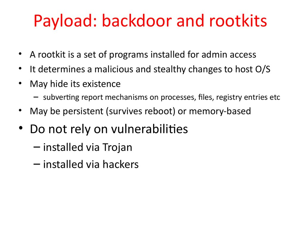 Payload: backdoor and rootkits