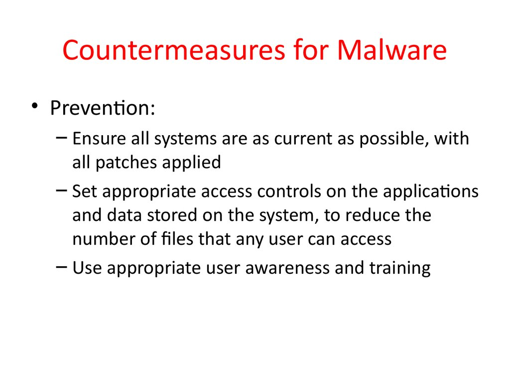 Countermeasures for Malware