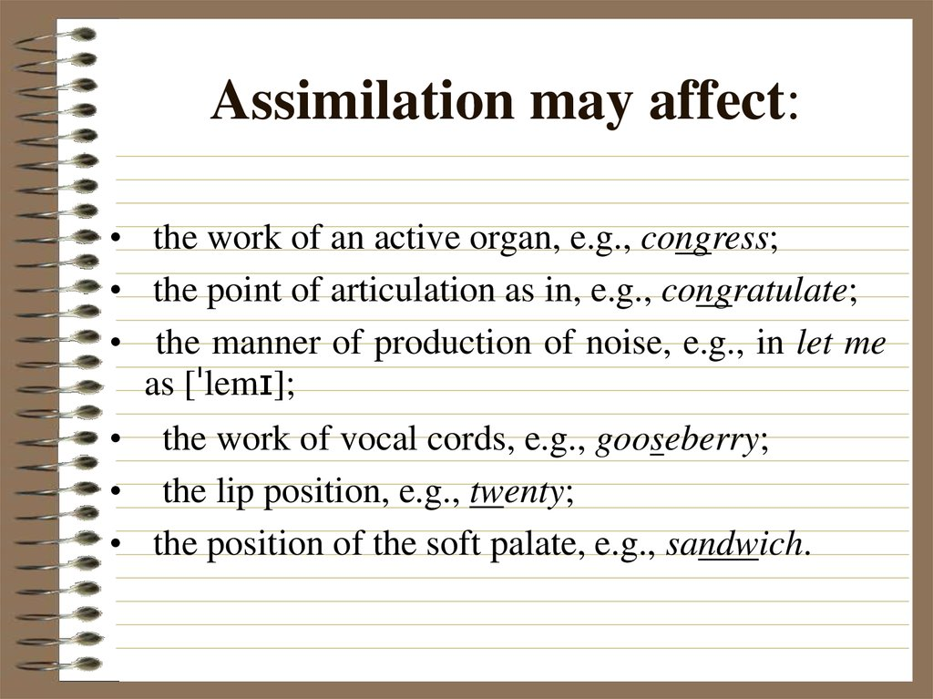 Assimilation may affect: