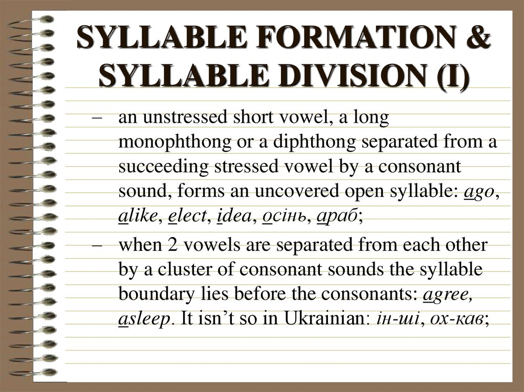 SYLLABLE FORMATION & SYLLABLE DIVISION (I)
