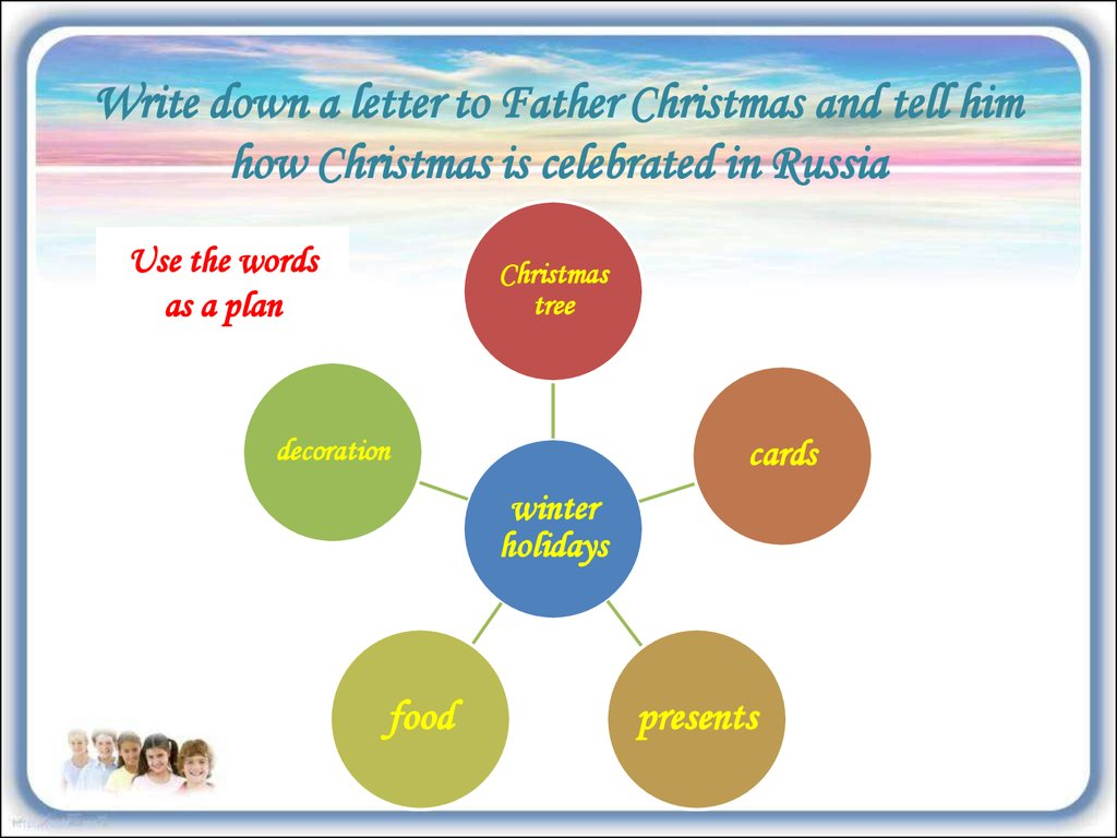 Write down a letter to Father Christmas and tell him how Christmas is celebrated in Russia