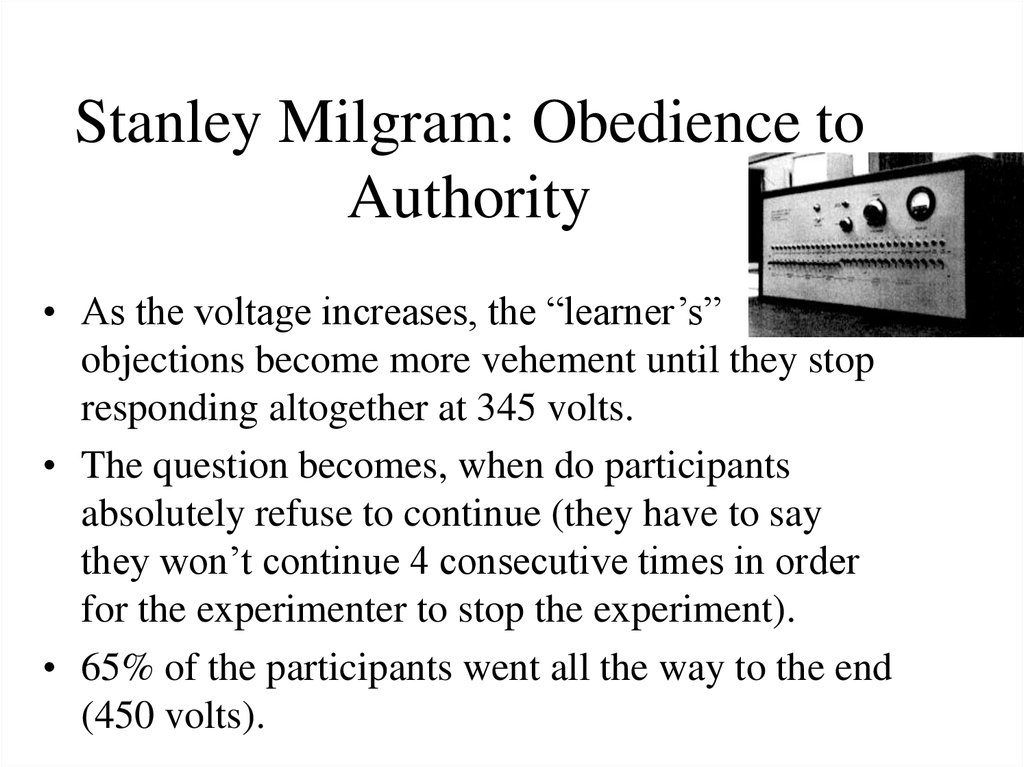 essay about milgram obedience Free essay: in the perils of obedience, stanley milgram conducted a study that tests the conflict between obedience to authority and one's own.