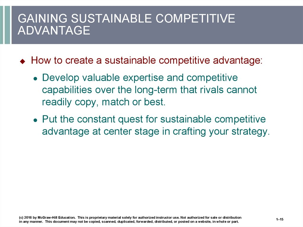 GAINING SUSTAINABLE COMPETITIVE ADVANTAGE