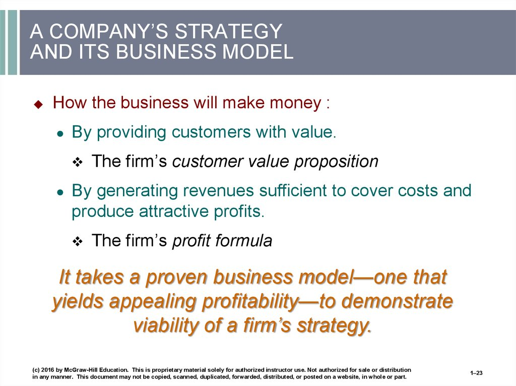 A COMPANY'S STRATEGY AND ITS BUSINESS MODEL