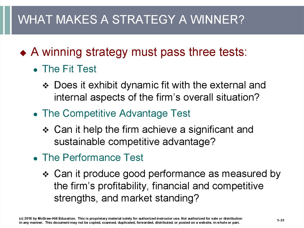 WHAT MAKES A STRATEGY A WINNER?