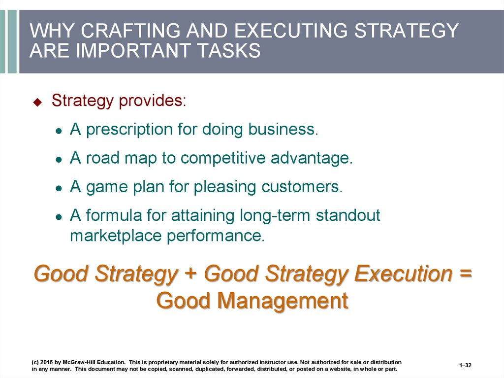 WHY CRAFTING AND EXECUTING STRATEGY ARE IMPORTANT TASKS