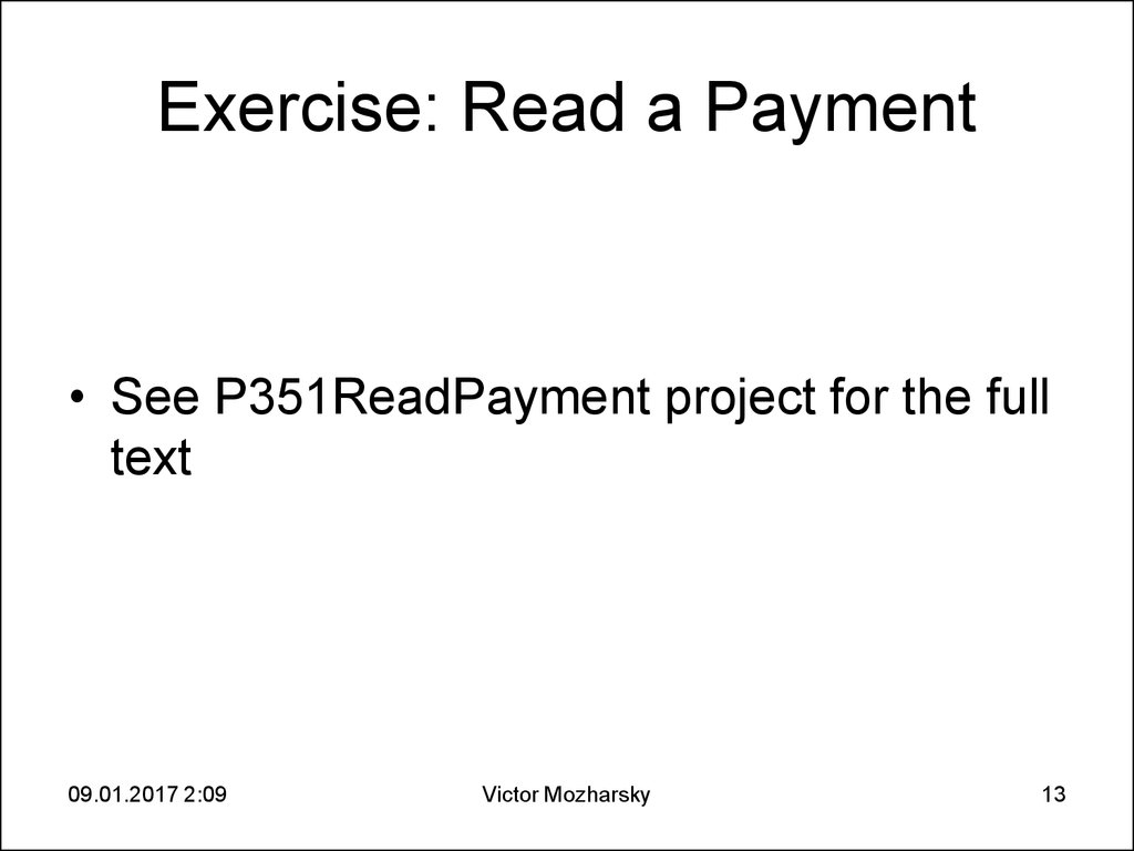 Exercise: Read a Payment