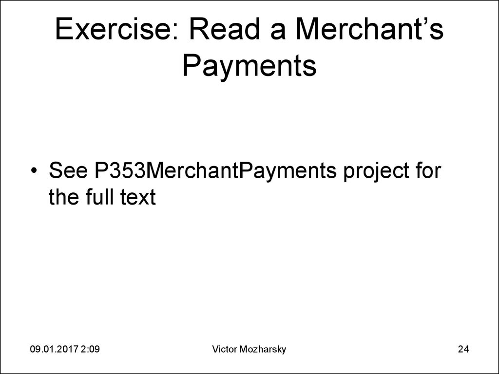 Exercise: Read a Merchant's Payments