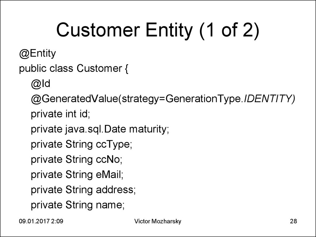 Customer Entity (1 of 2)